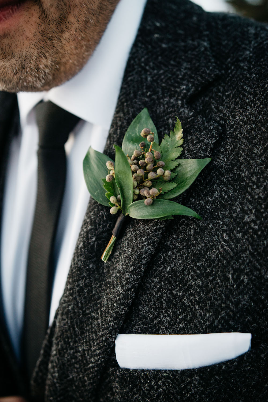 Greenery Wedding Boutonniere - Winter Wedding Flower Ideas