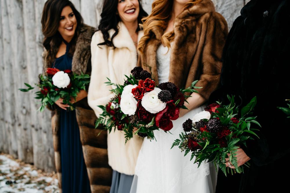 Jewel Tone Bridesmaid Bouquets - Winter Weddings in Winnipeg