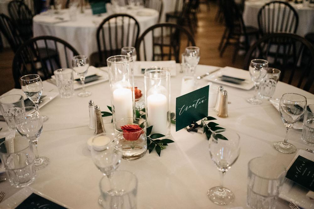 Pillar Candle Wedding Centrepiece - Winter Weddings Winnipeg