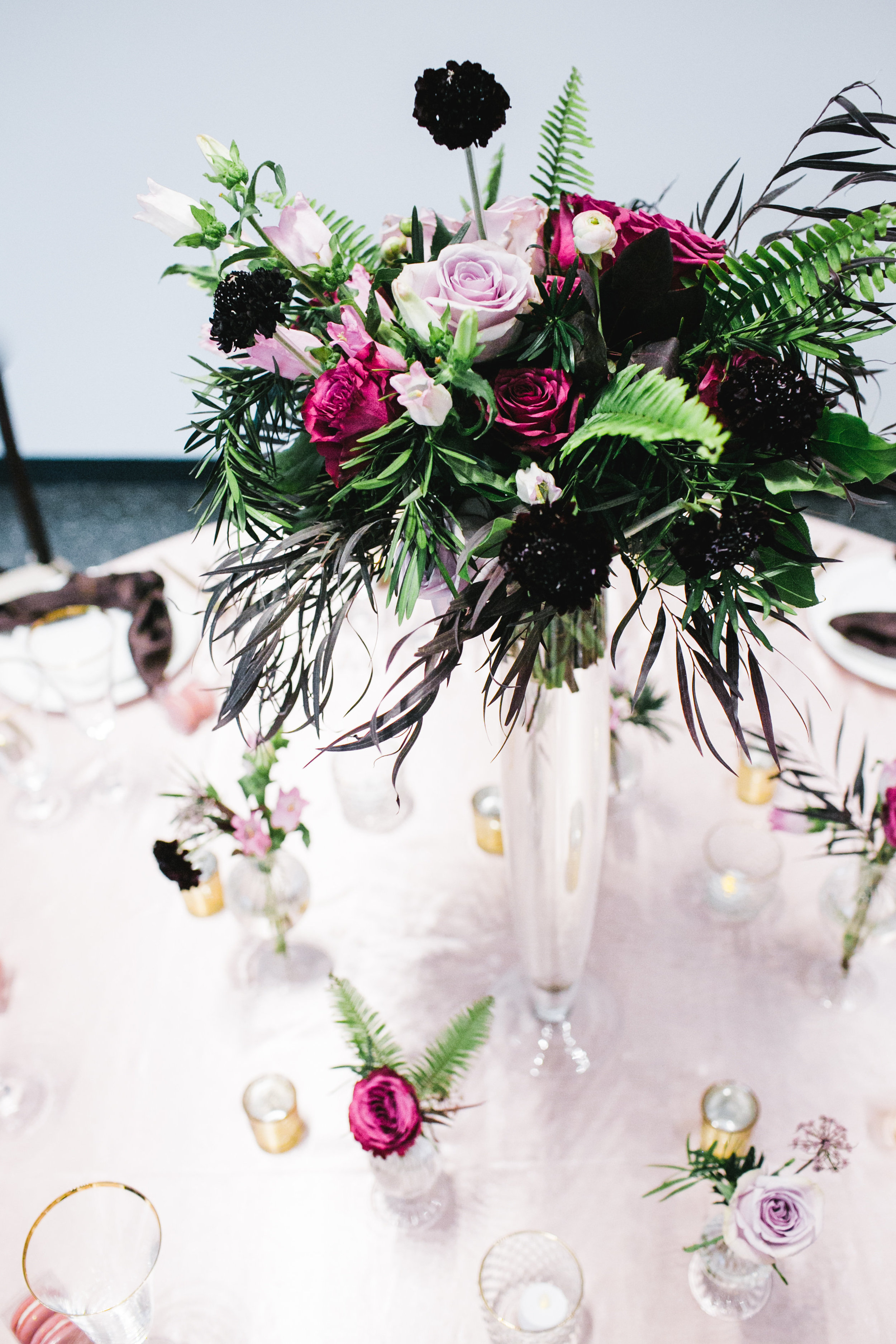 Garden Inspired Wedding Centrepieces - Berry Toned Wedding Flowers
