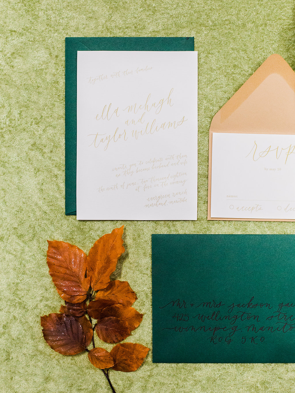 Green Wedding Invitations - Winnipeg Wedding Planning