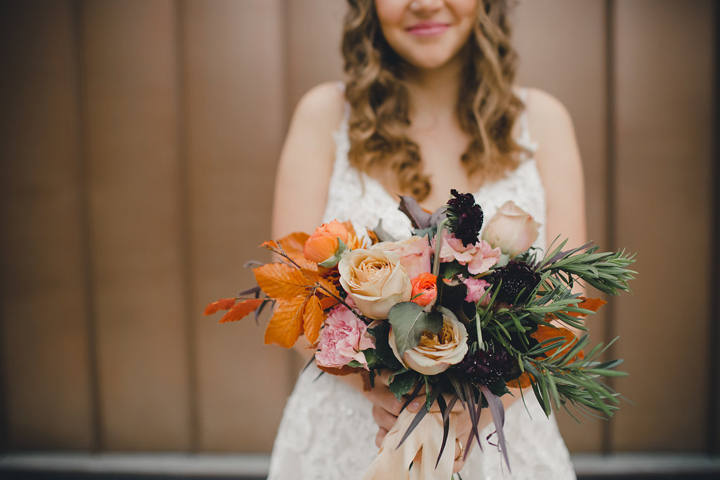 Fall Wedding Bouquet with Caramel Roses - Stone House Creative