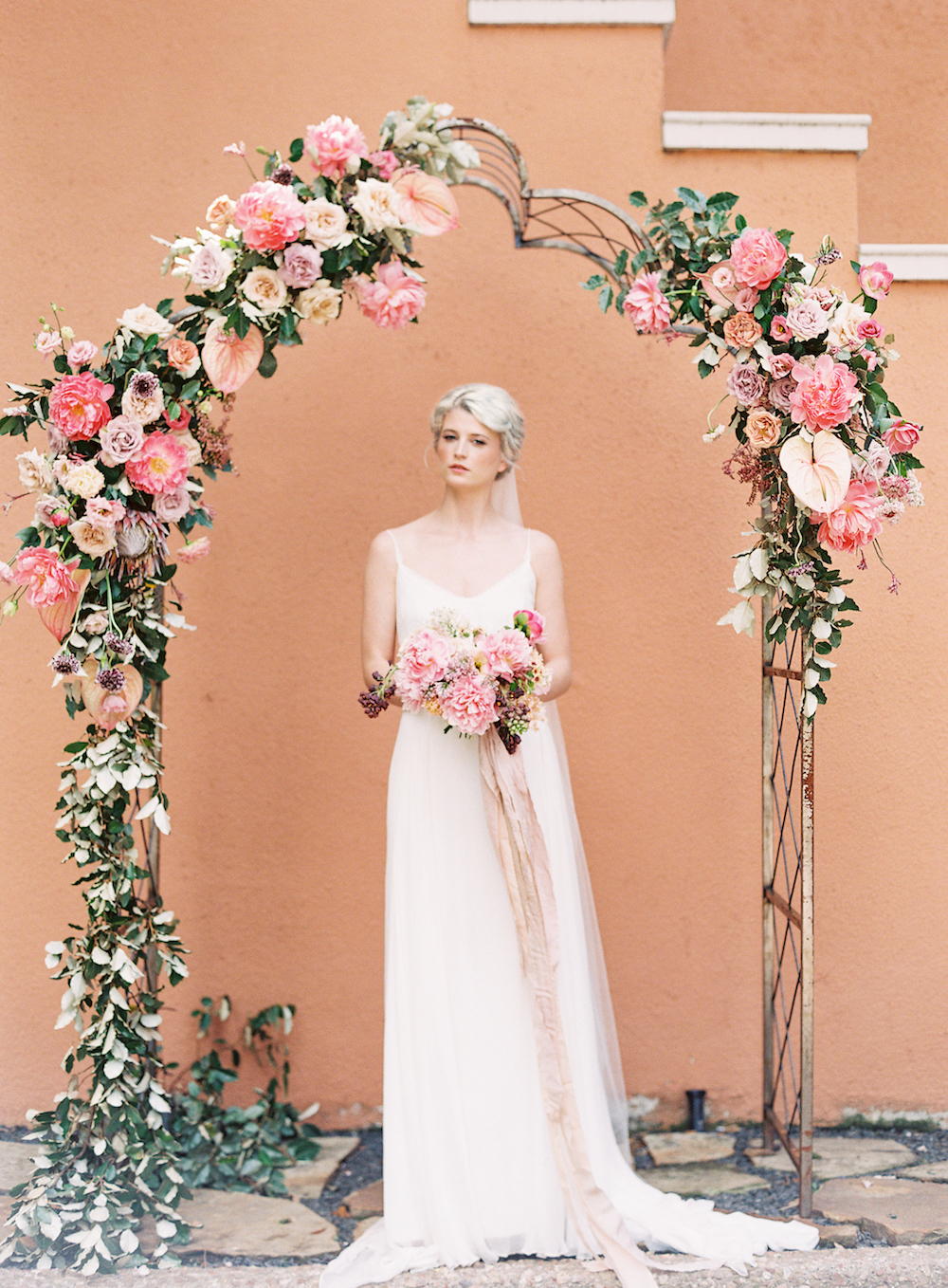 Wedding Ceremony Arch - Coral Wedding Flowers