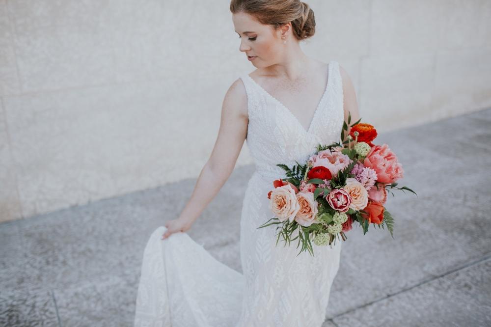 Coral and Peach Bridal Bouquet - Winnipeg Wedding Florist