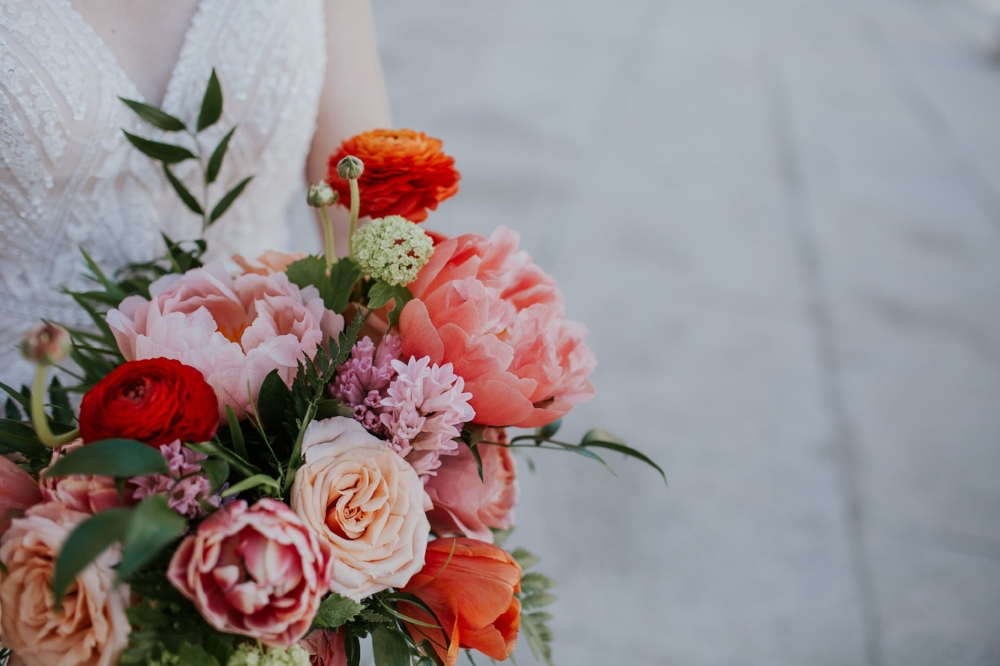 Coral Peony Bridal Bouquet - Wedding Florists Winnipeg