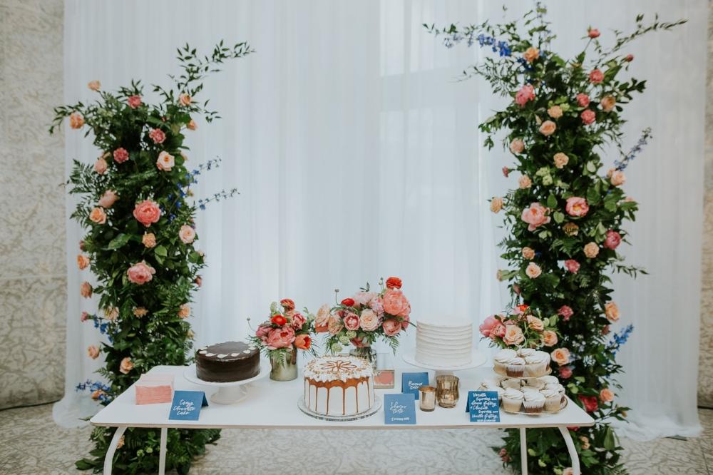 Floral Wedding Cake Table - Wedding Florists Winnipeg