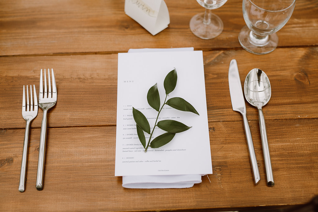 Greenery Sprig Place Settings - Winnipeg Wedding Florists