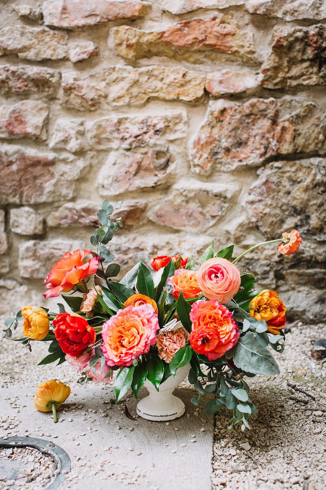 Coral and Orange Wedding Centrepiece - Winnipeg Wedding Florist