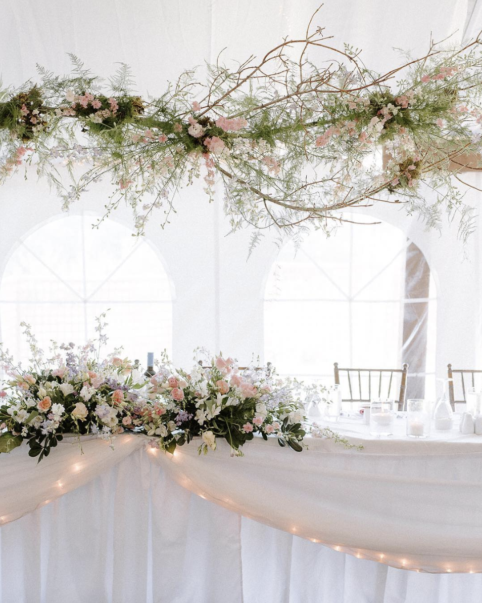 Hanging Flowers over Head Table - Wedding Florists in Winnipeg