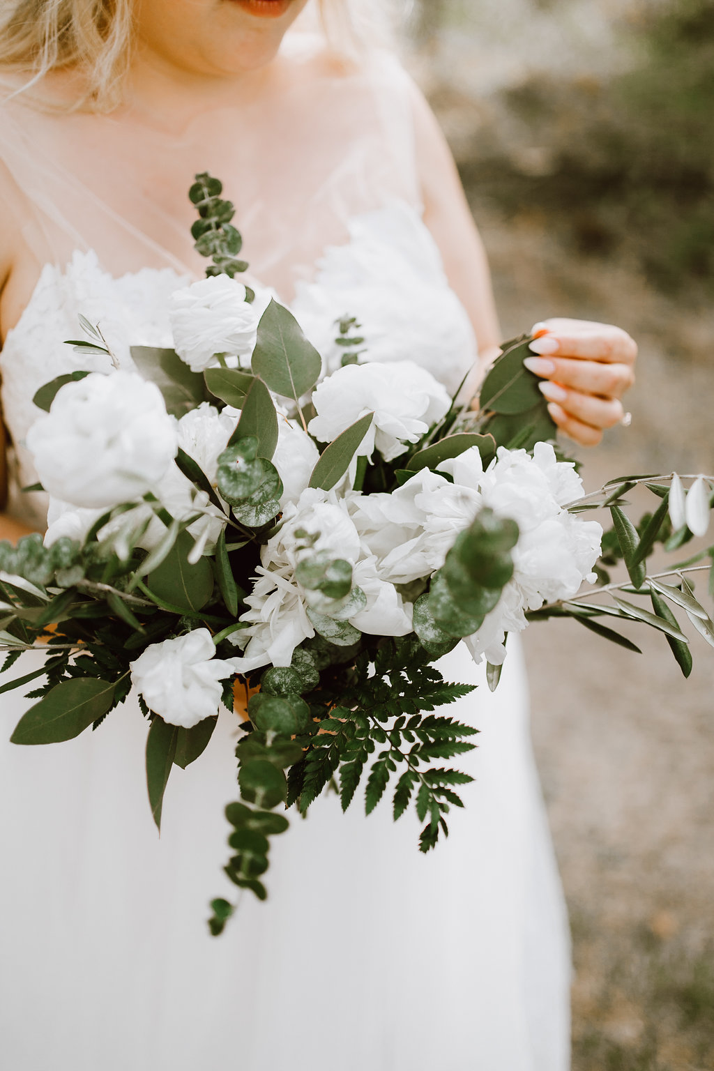 White and Green Wedding Bouquet - Peony Bridal Bouquet
