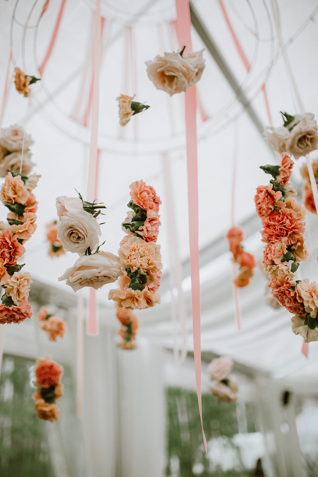 Hanging Floral Chandelier - Cielo's Garden Wedding