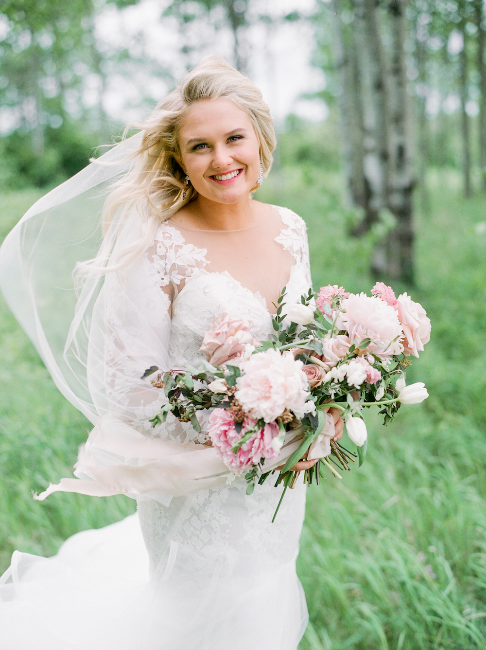 Blush and Berry Bridal Bouquet - Wedding Flowers Winnipeg