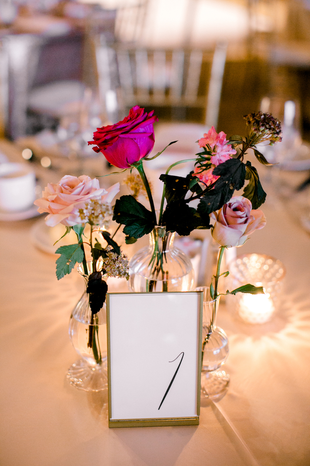 Stem Vase Wedding Centrepieces - Blush and Berry Wedding Flowers