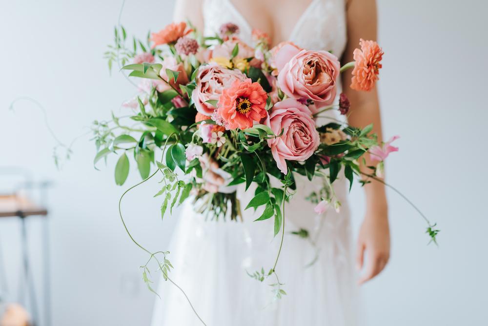 Garden Rose and Zinnia Bouquet - Wedding Florists in Winnipeg