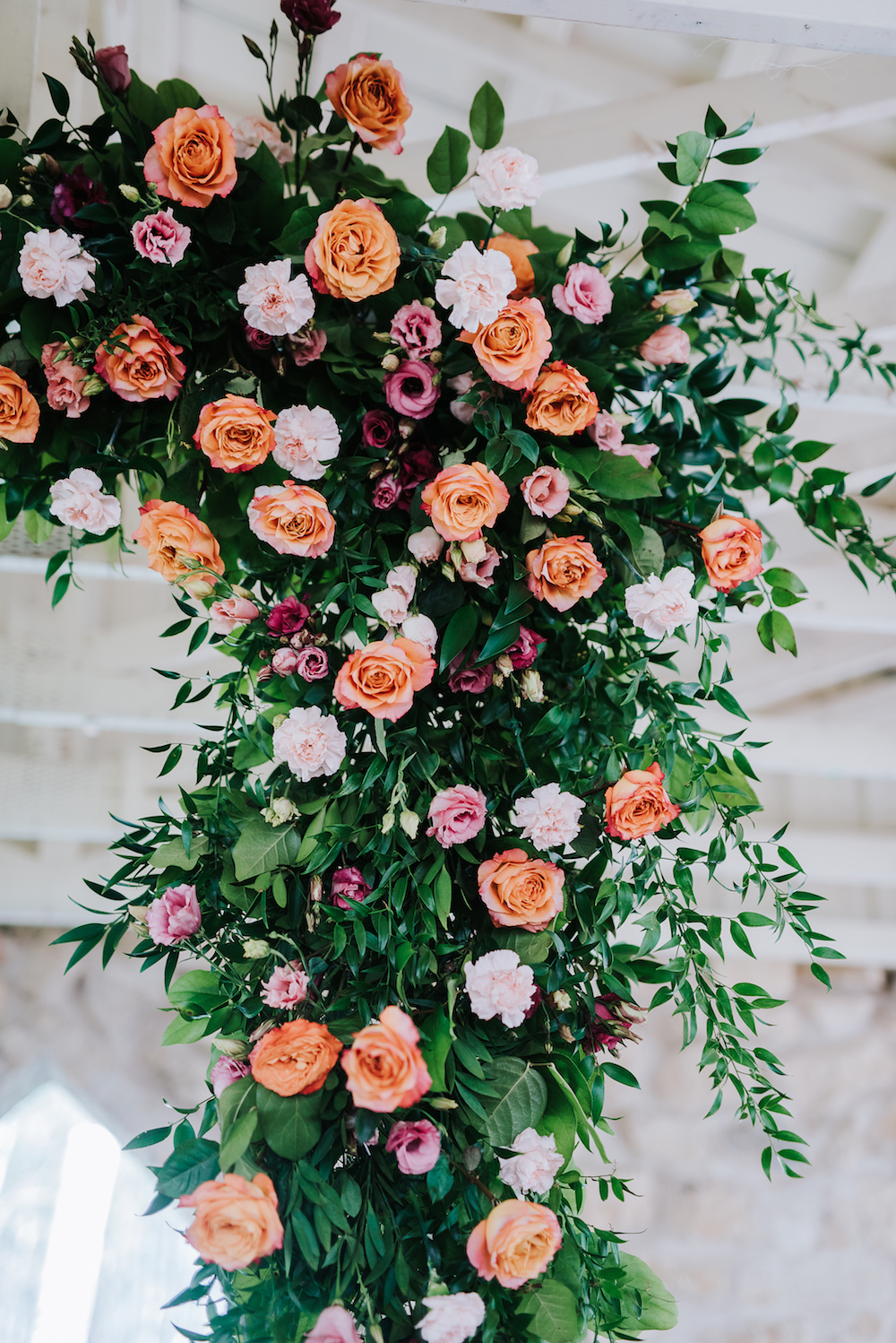 Orange and Peach Wedding Flowers - Hanging Floral Installation