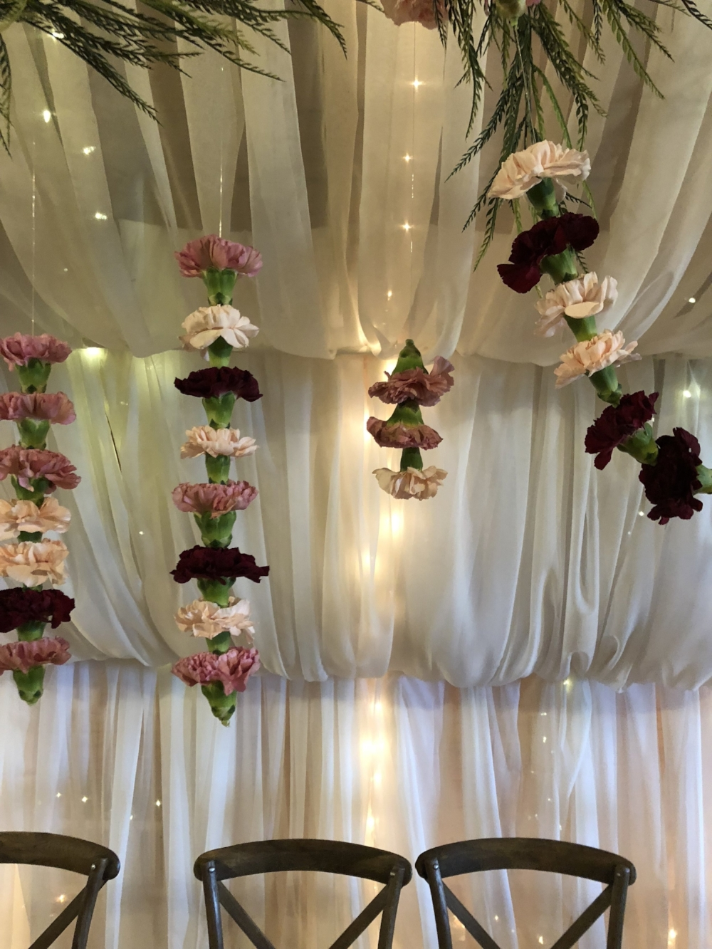 Hanging Carnation STrings Wedding Ideas - Wedding Florists in Winnipeg