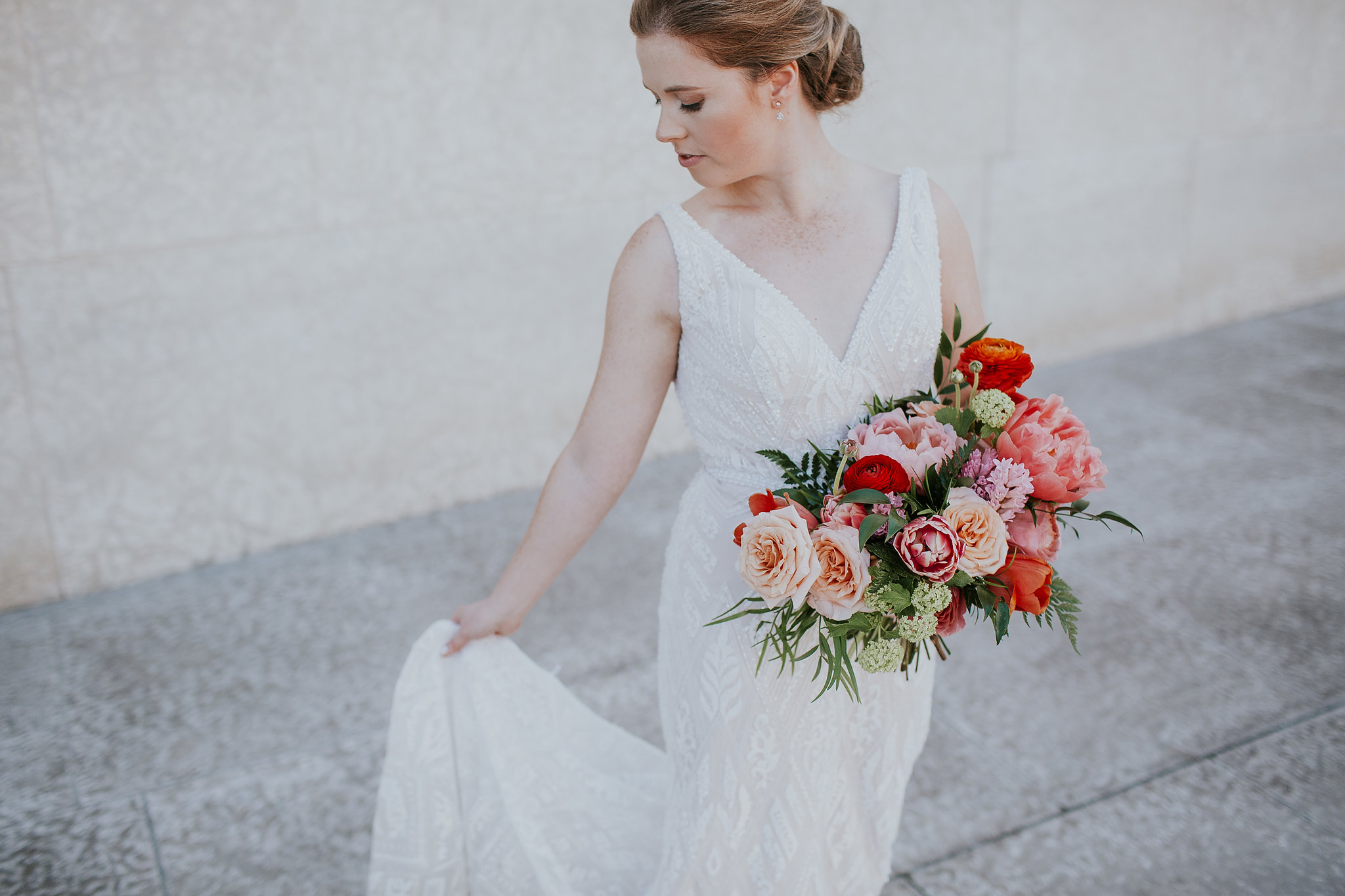 Coral and Peach Wedding Flowers - Garden Inspired Wedding Florals