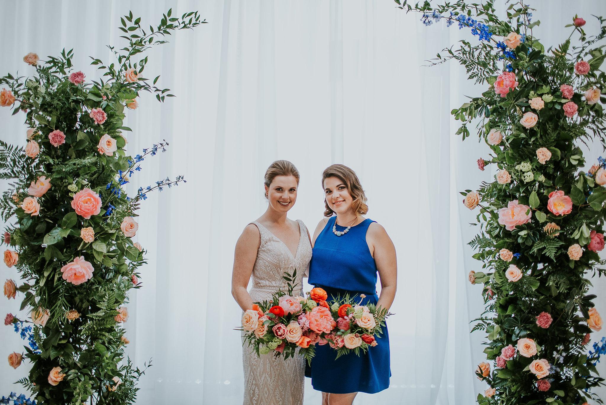 Coral and Blue Wedding Flowers - Winnipeg Wedding Florists