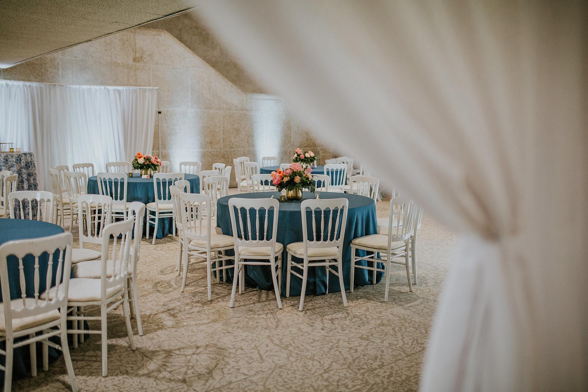 Coral and Blue Wedding Decor - Winnipeg Art Gallery Wedding