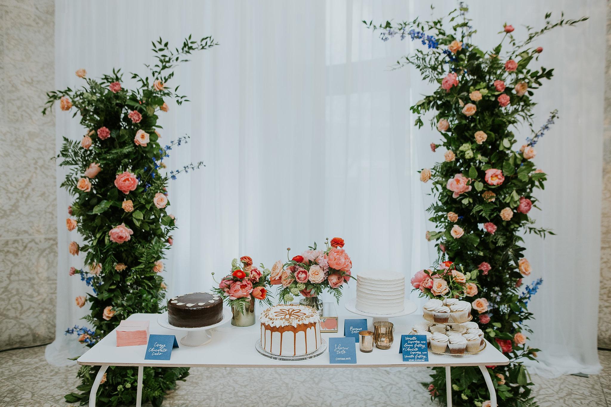 Floral Wedding Cake Display - Wedding Florist in Winnipeg