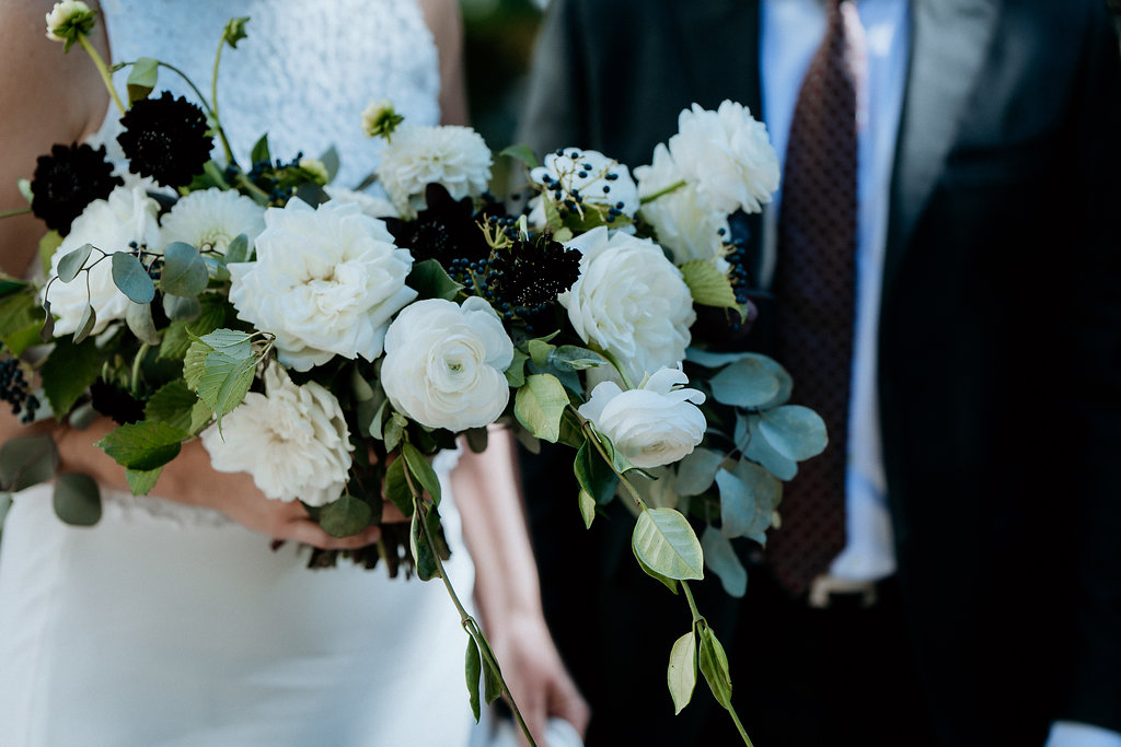 White Garden Rose and Ranunculus Wedding Bouquet - Stone House Creative