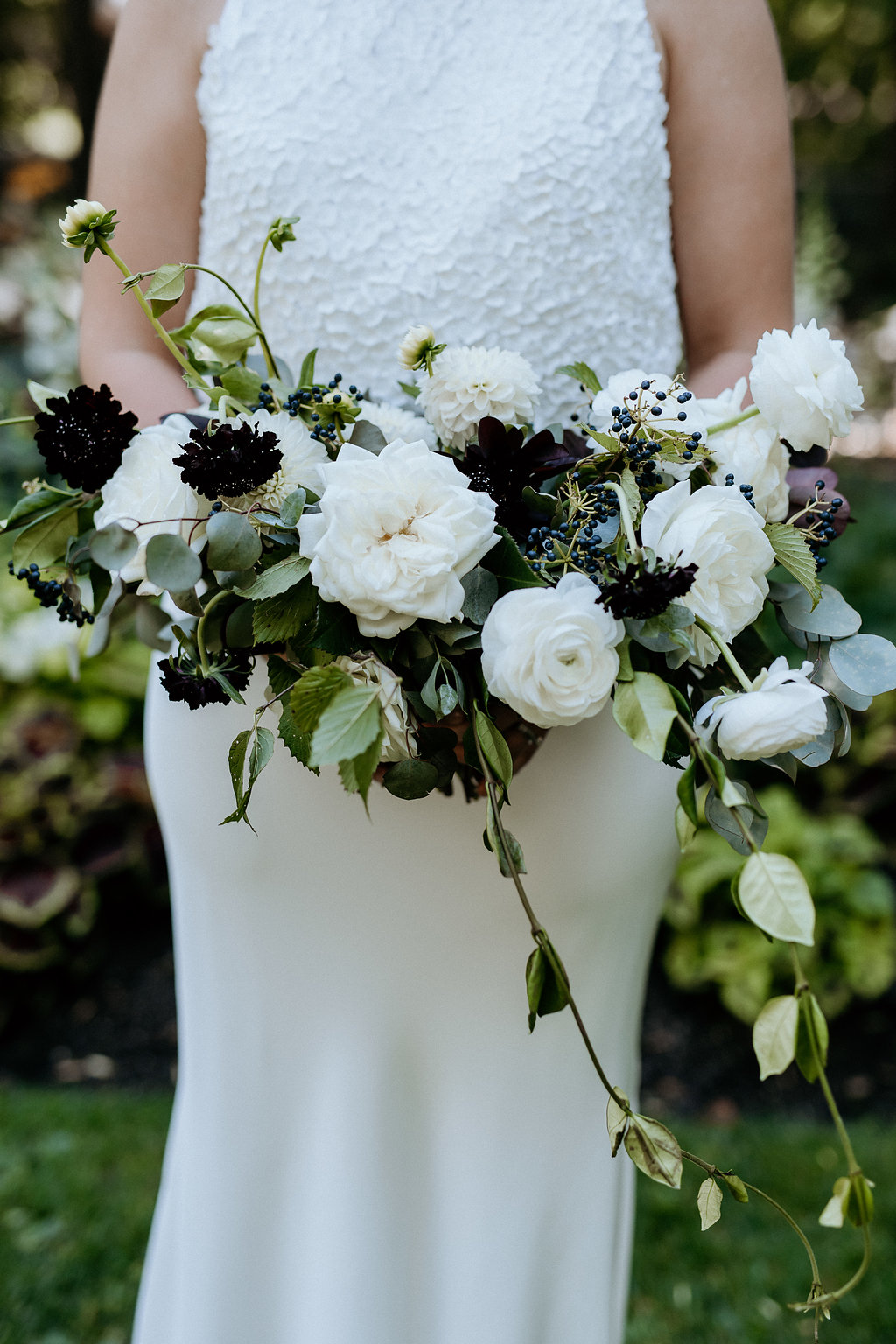 White and Black Bridal Bouquet - Stone House Creative