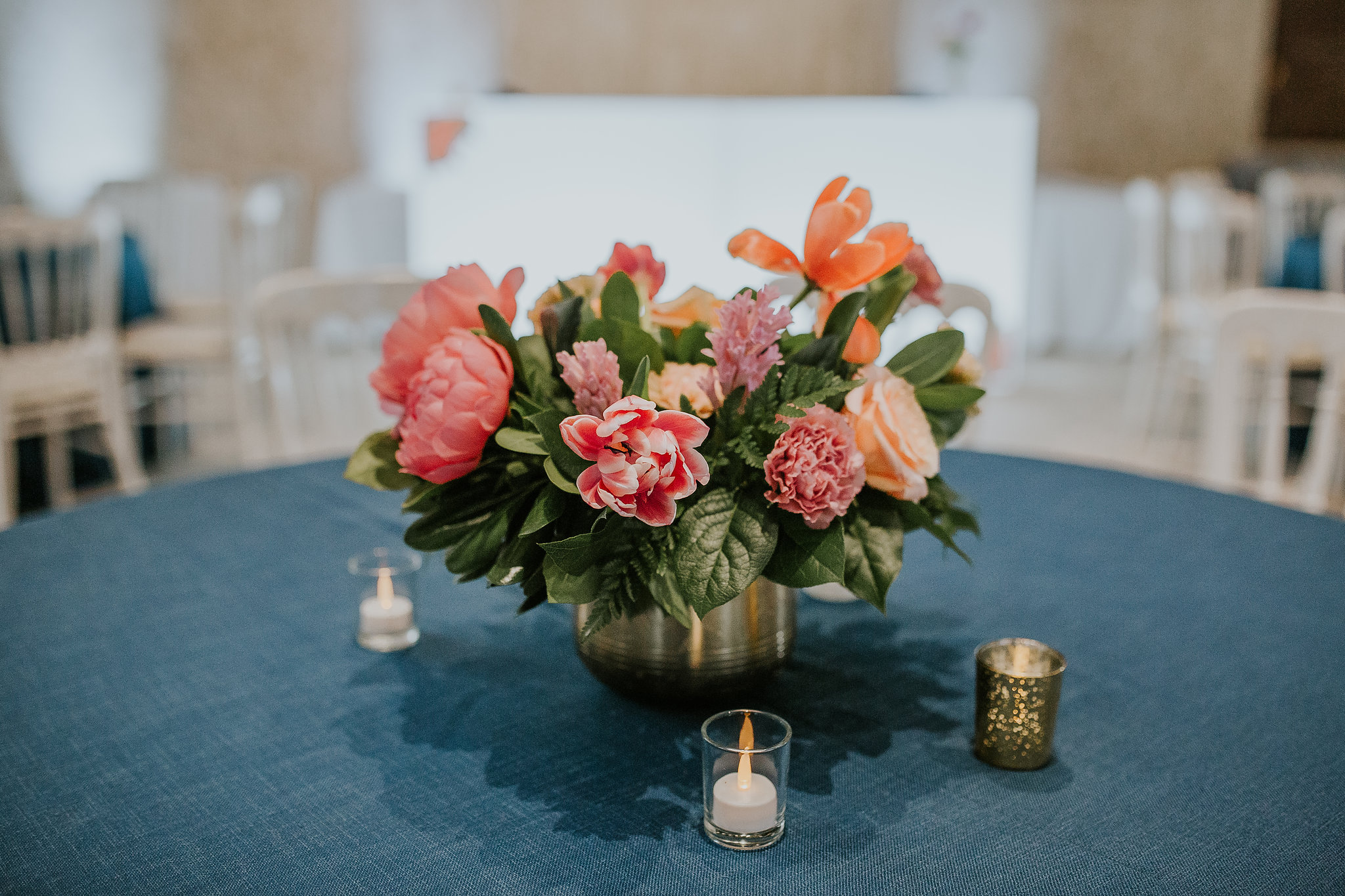 Coral Peony Wedding Centrepiece - Spring Wedding Flowers in Winnipeg
