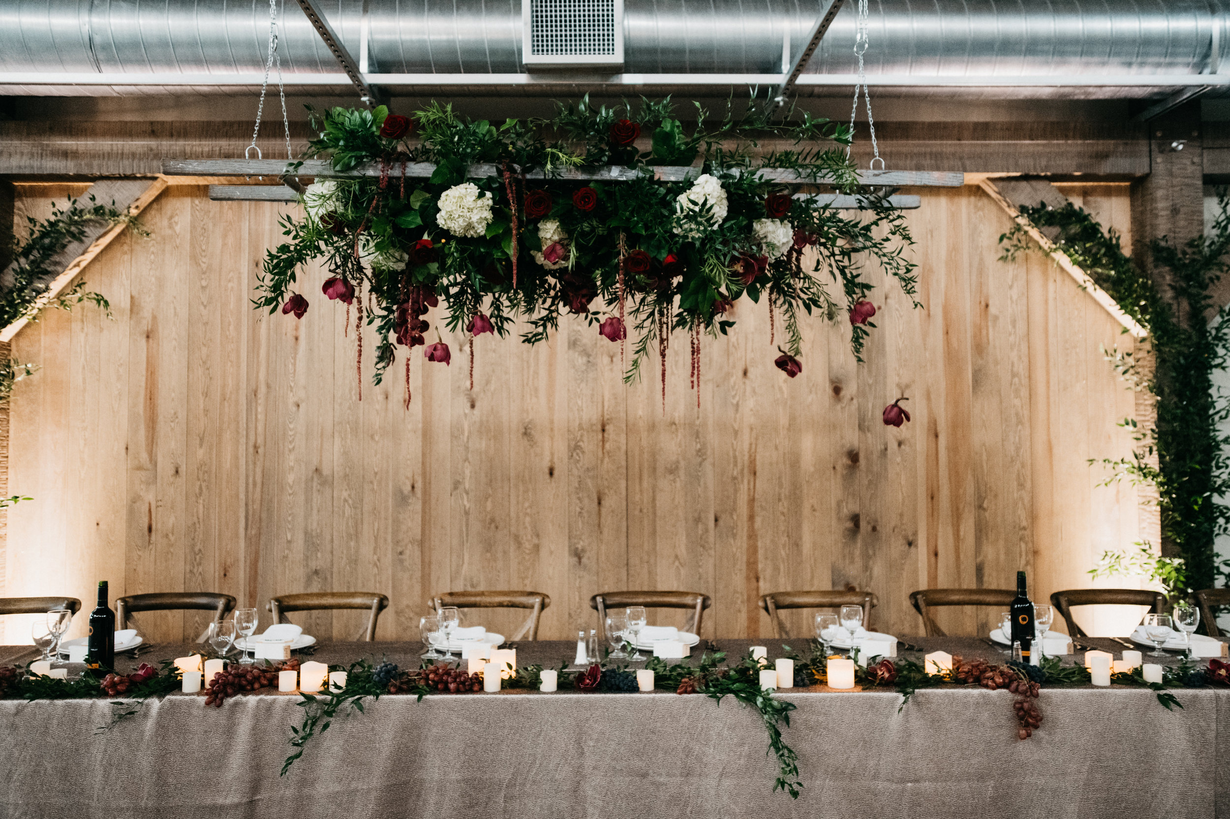 Elegant Fall Wedding Head Table - Hawthorn Estates Wedding by Stone House Creative