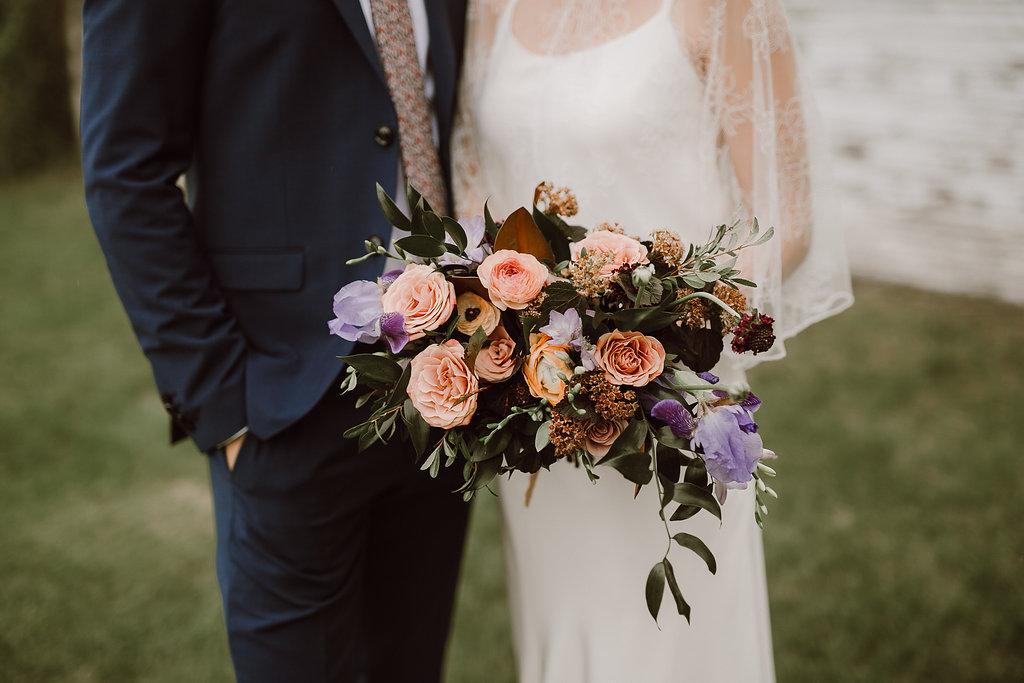 Garden-Inspired Mauve Bridal Bouquet - Wedding Flowers Winnipeg