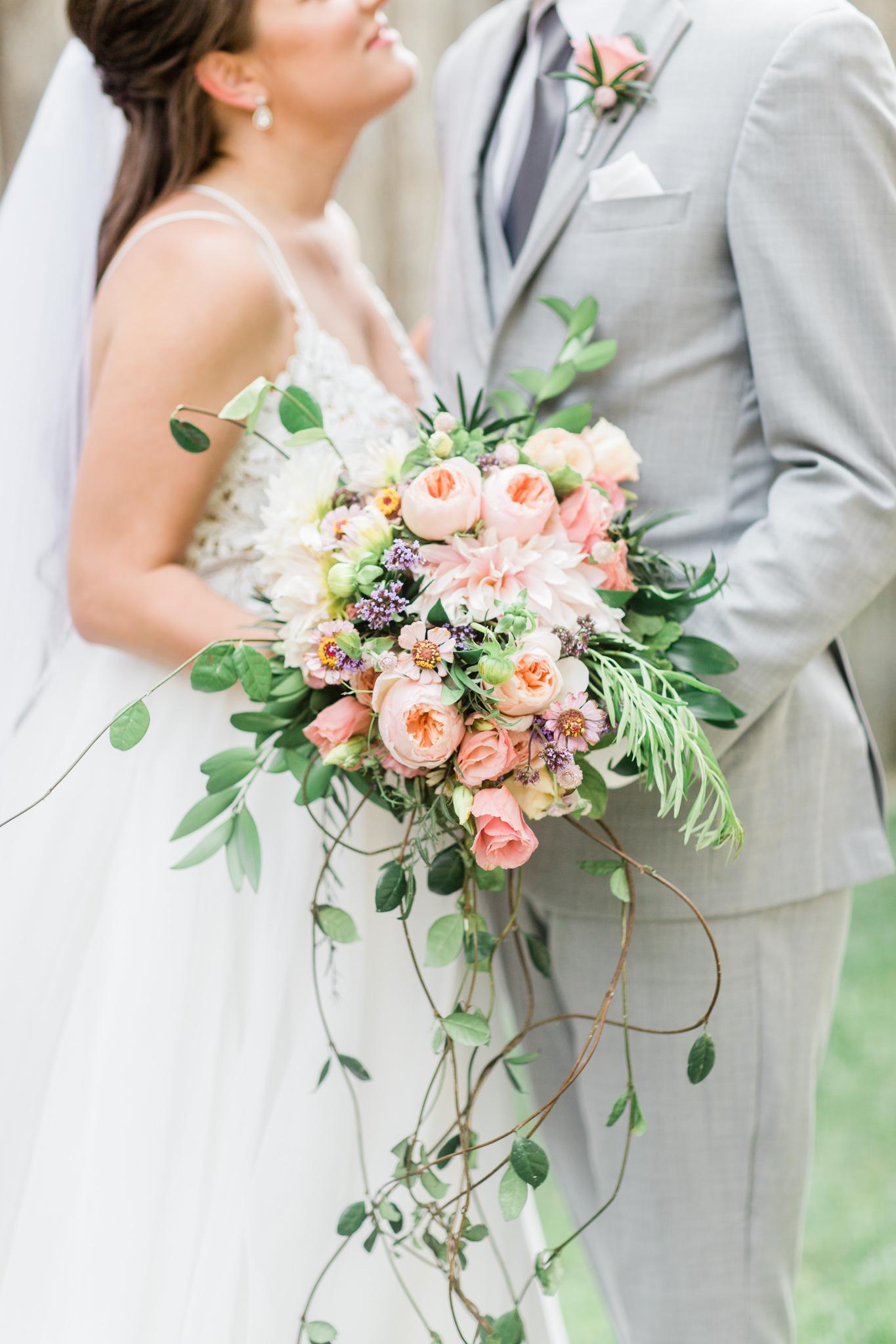 Modern Garden Style Cascade Bouquet - Winnipeg Wedding Florists
