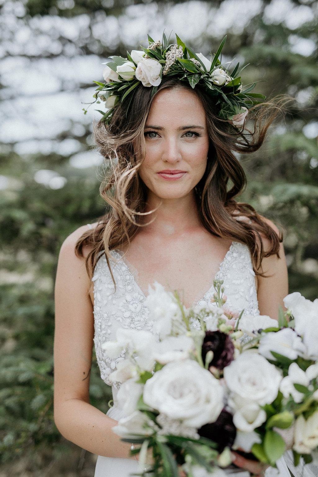 Blush and Cream Flower Crown - Wedding Florists in Winnipeg