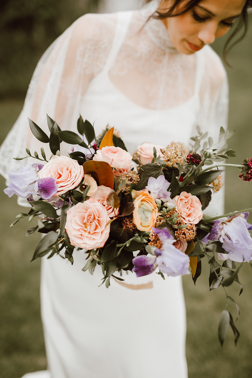 Mauve and Peach Bridal Bouquet - Stone House Creative