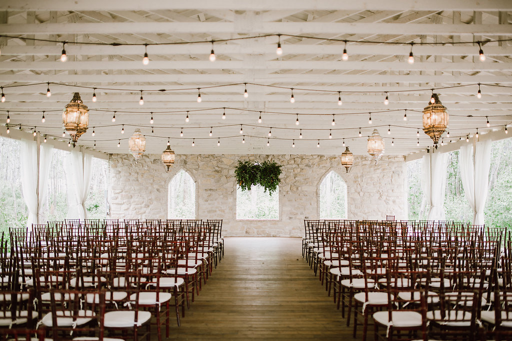 Hanging Greenery Wedding Ceremony Flowers - cielo's Garden Wedding by Stone House Creative