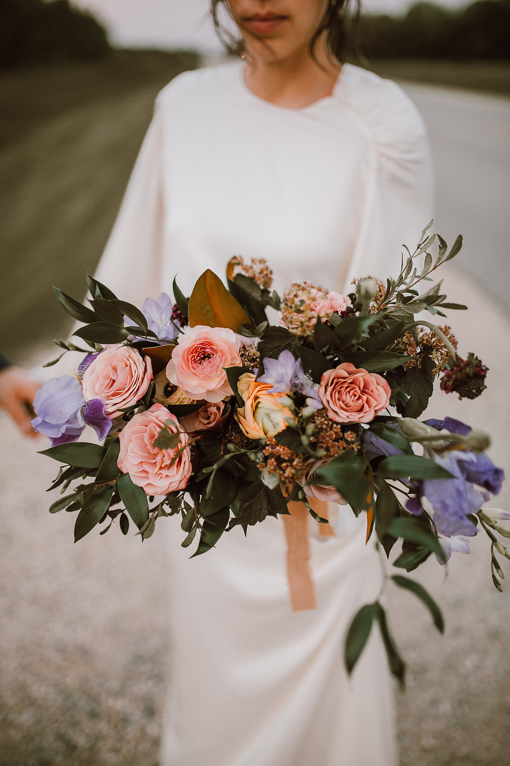 Mauve, Peach and Apricot Bridal Bouquet - Organic Wedding Flowers in Winnipeg