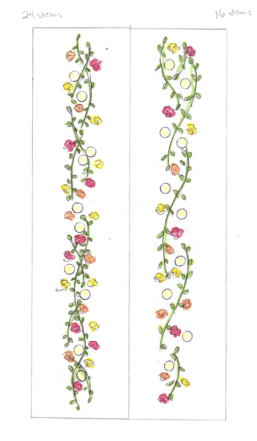 Sketches of Wedding Table Garlands - Winnipeg Wedding Event Designer