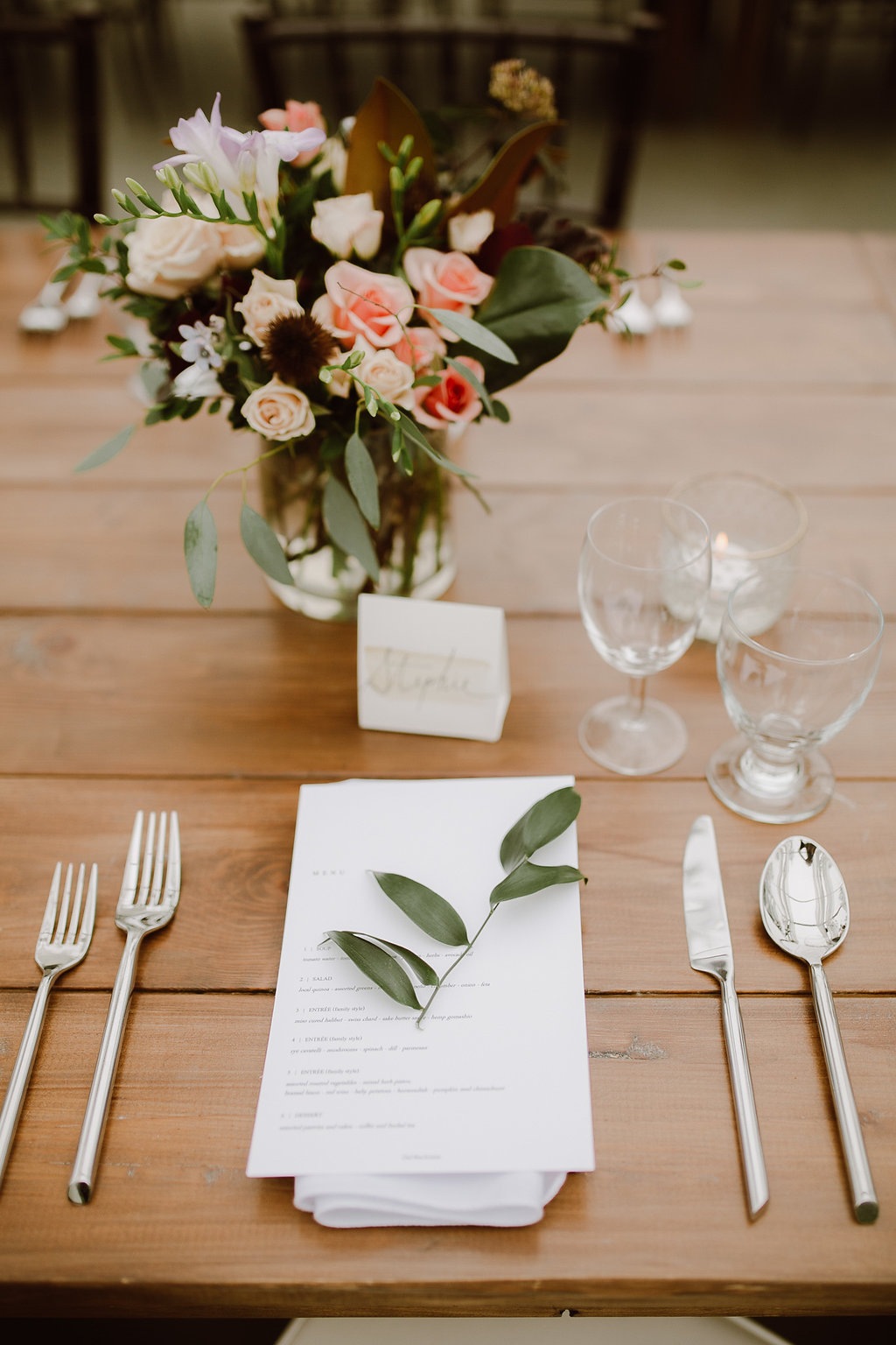 Wedding Place Setting with Greenery Sprig - Wedding Florists Winnipeg