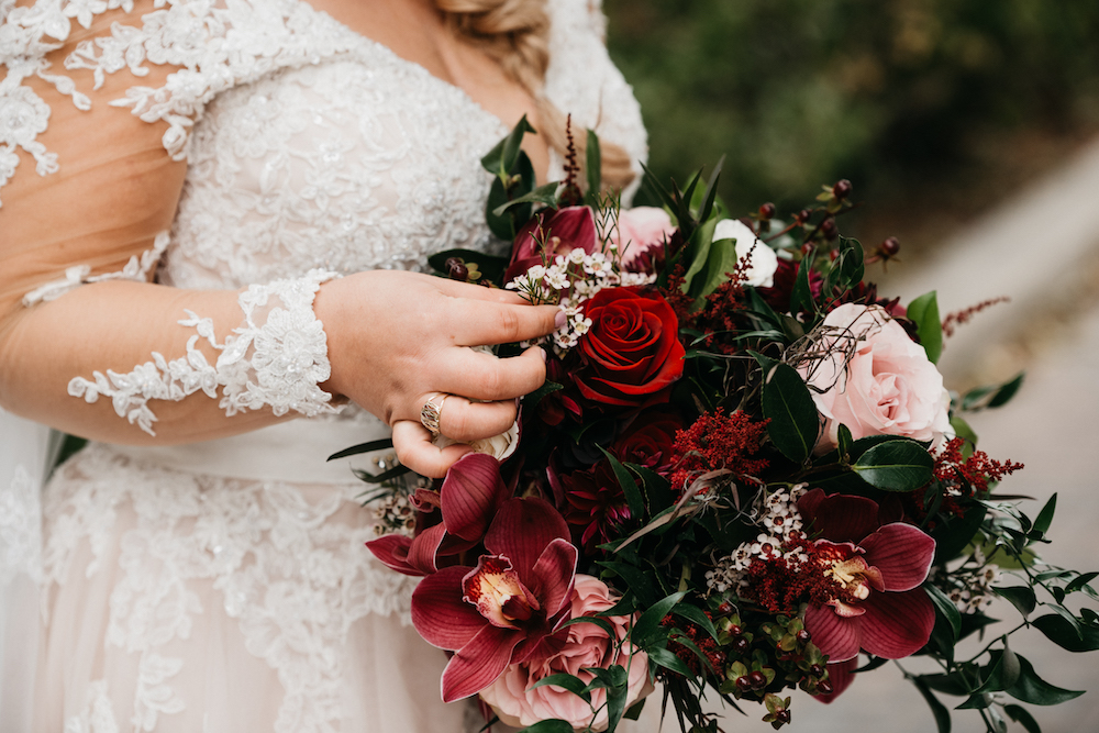 Burgundy and Blush Bridal Bouquet - Winnipeg Wedding Florists