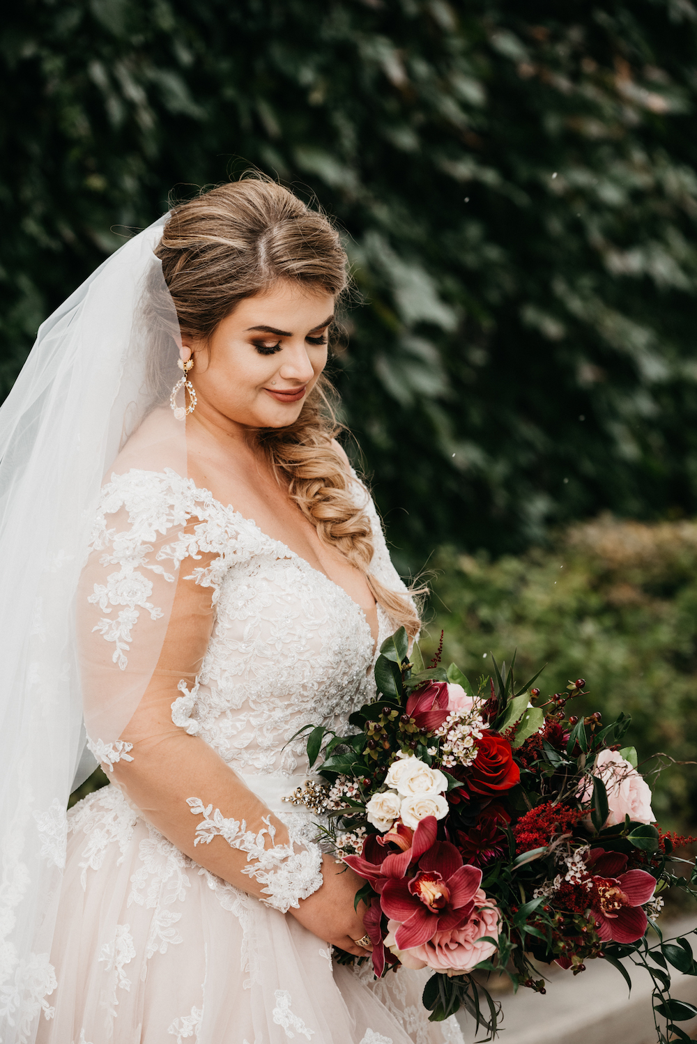 Burgundy and Blush Bridal Bouquet - Wedding Florists in Winnipeg