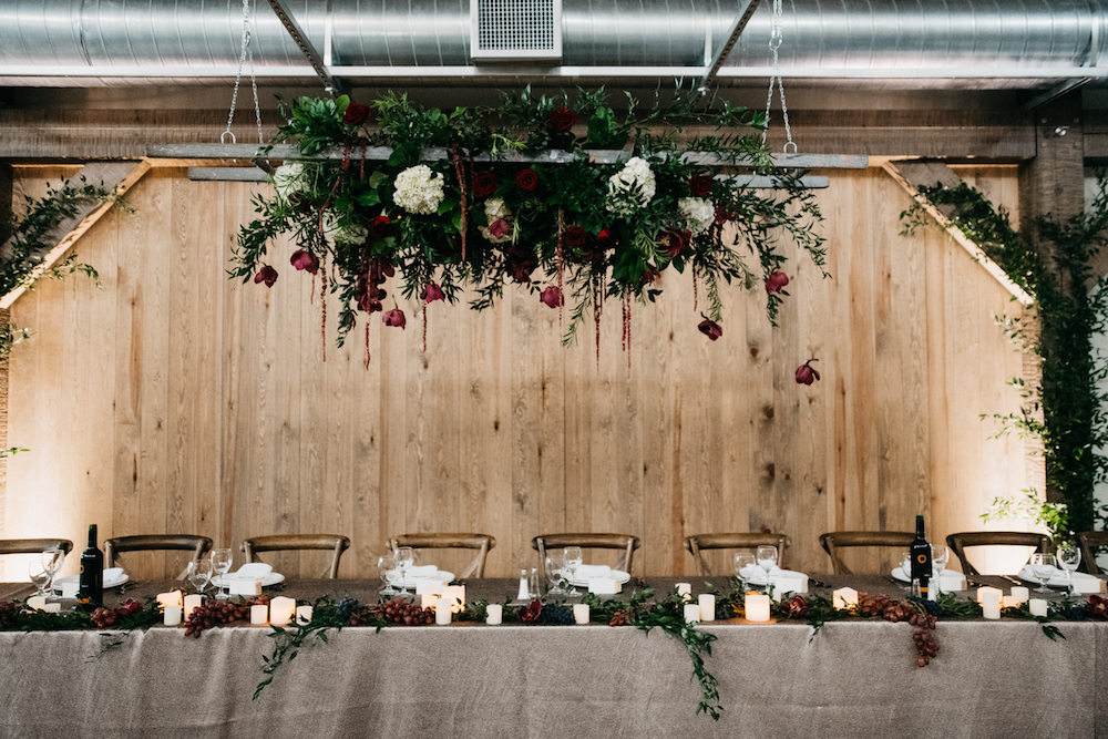 Hanging Flowers at Head Table - Hawthorn Estates Wedding by Stone House Creative