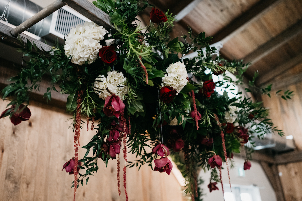 Head Table Floral Installation - Hanging Flowers at Hawthorn Estates