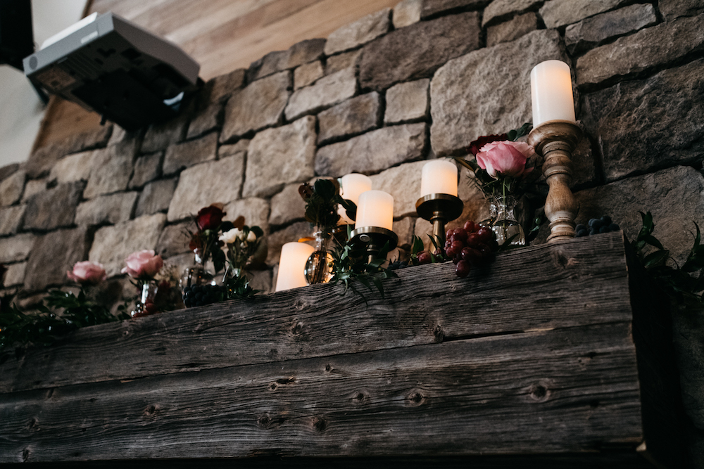 Fireplace Mantle Wedding Flower Ideas - Winnipeg Wedding Florists