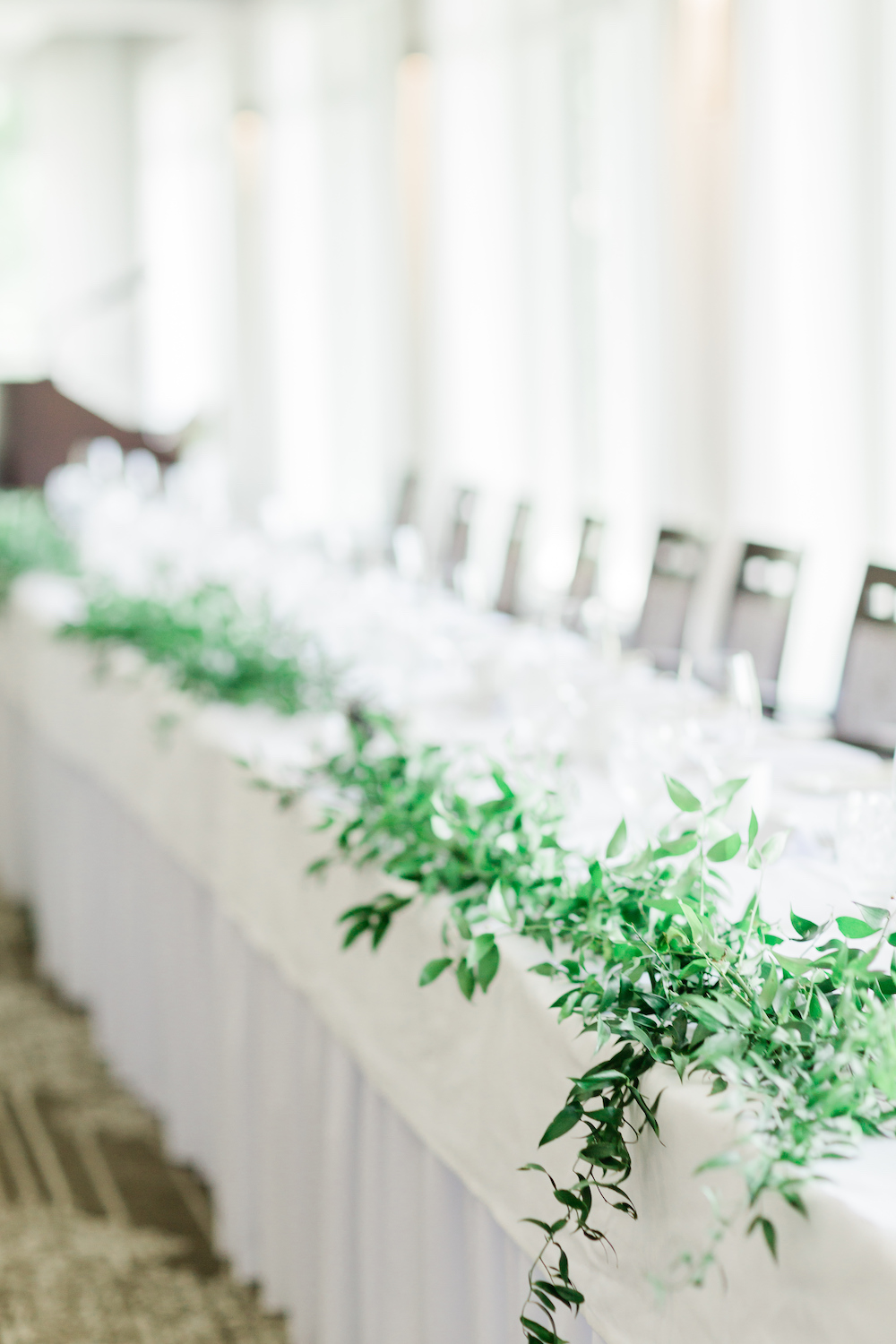 Greenery Garland on Head Table - St Charles Country Club Wedding