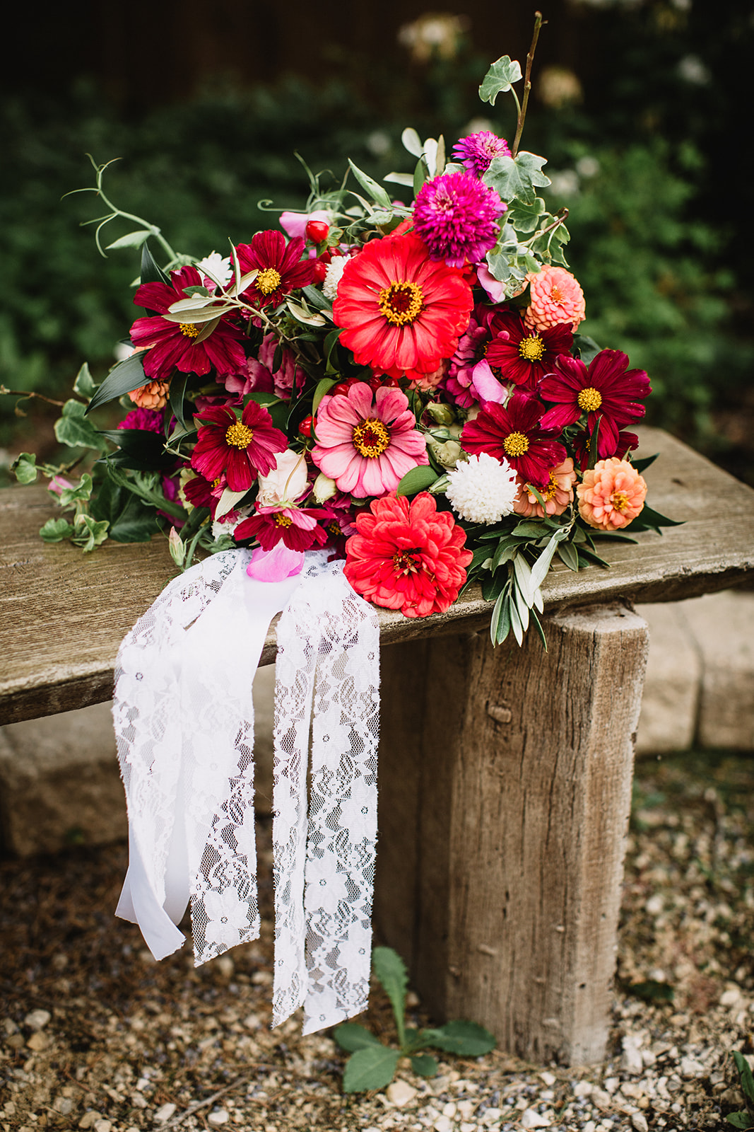 Wedding Bouquet with Zinnias and Cosmos - Wedding Flowers Winnipeg
