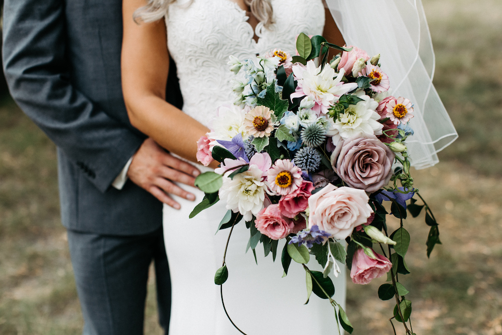 Pastel Bridal Bouquet - Locally Grown Wedding Flowers Winnipeg