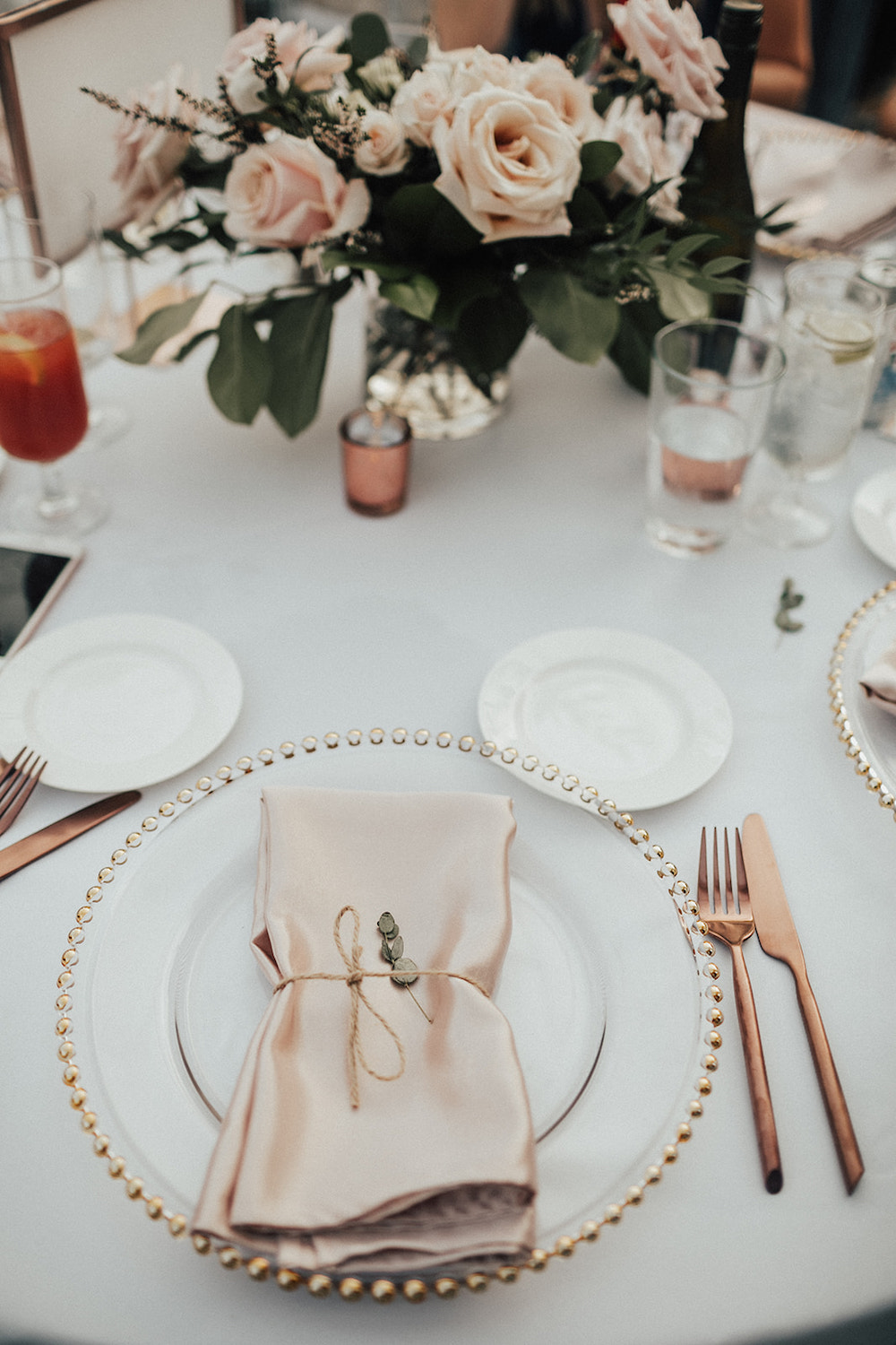 Blush Rose Wedding Centrepieces - Blush and Rose Gold Wedding Decor Ideas