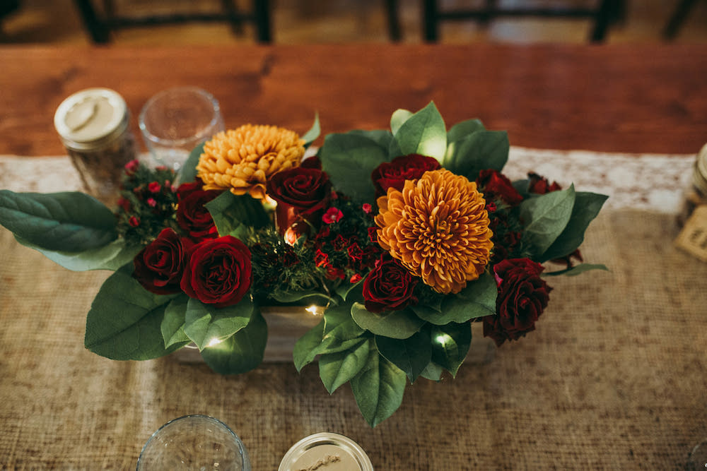 Burgundy Rose and Rust Mum Centrepieces - Wedding Flower Centrepiece IDeas
