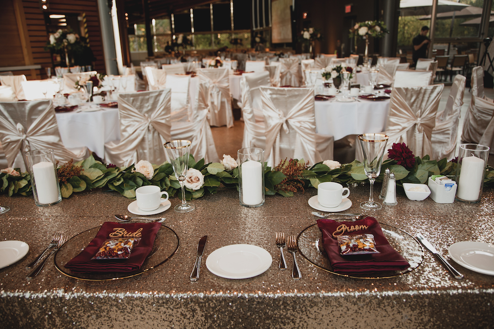 Gold and Burgundy Fall Wedding IDeas - Qualico Family Centre Wedding