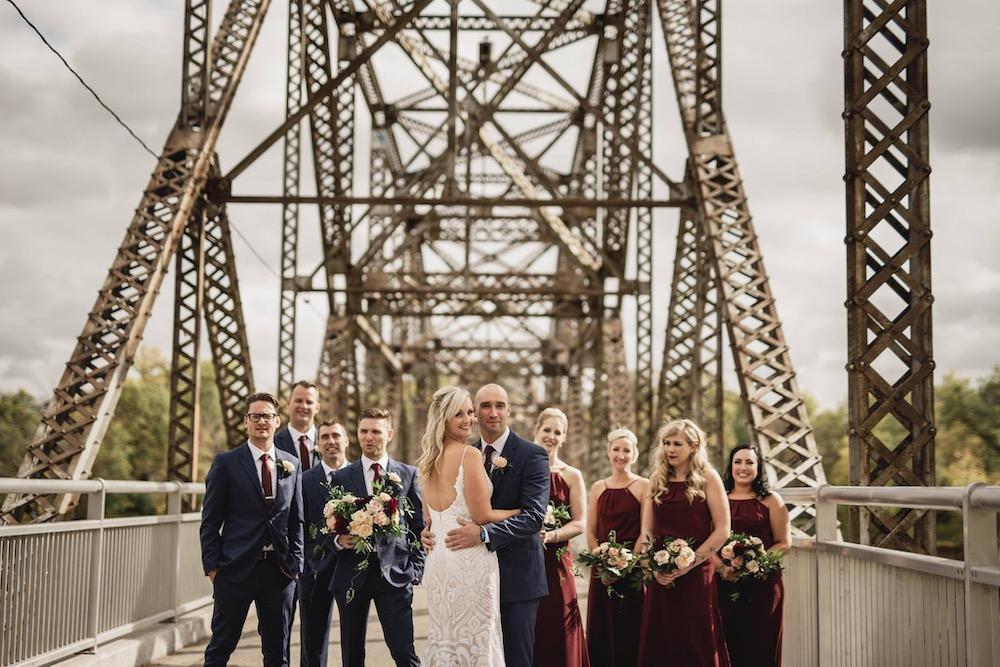 Burgundy and Navy Wedding in Winnipeg - Stone House Creative