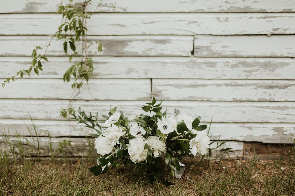 White Peony and Anemone Bouquet by Winnipeg Wedding Florist Stone House Creative