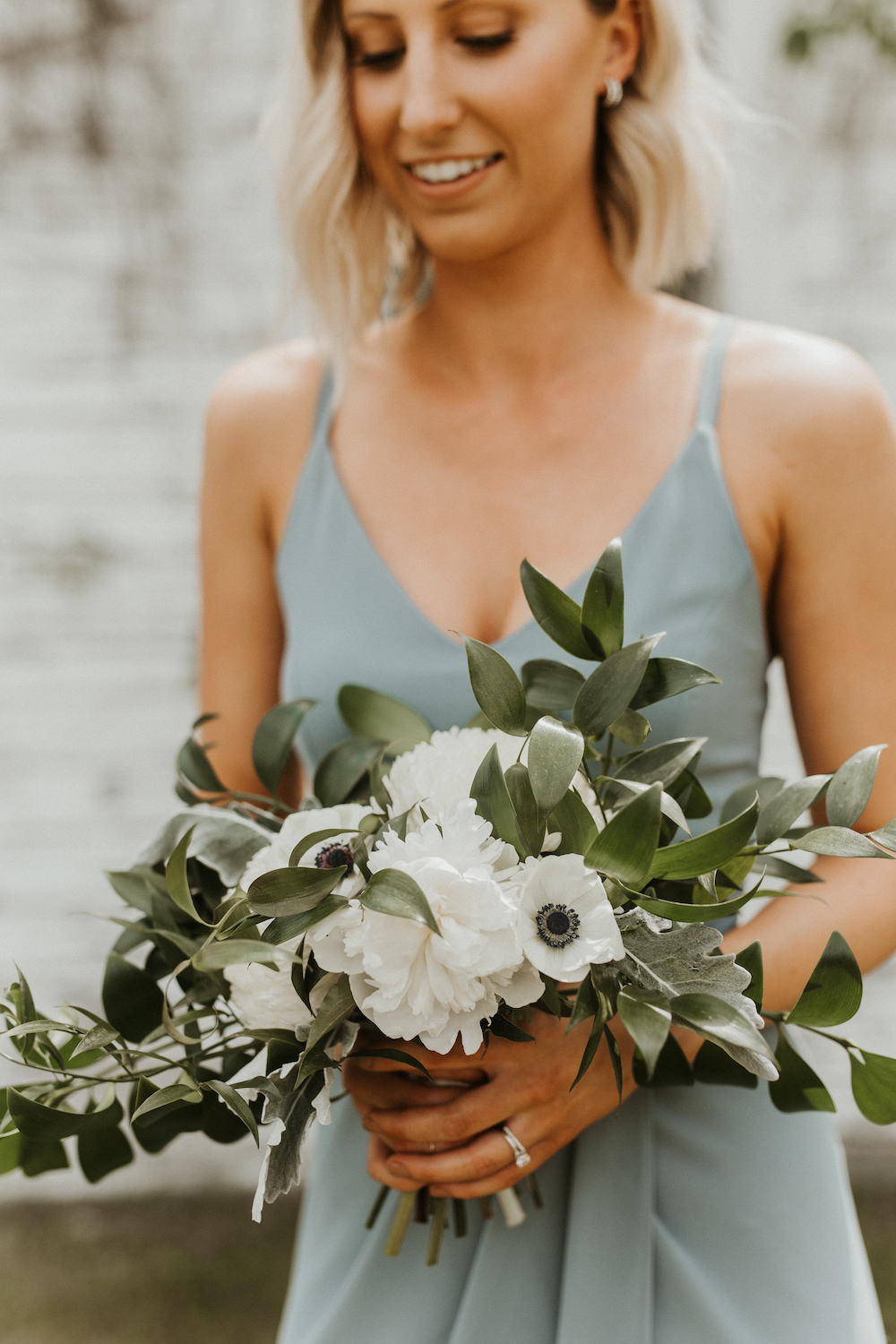 Mint Bridesmaid Dress with White Bouquet - Wedding Florists in Winnipeg